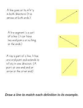 TOE THE LINE File Folder Game -Geometry Lines Rays Segments