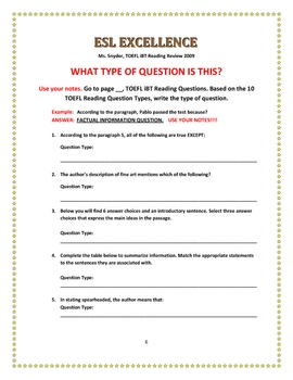 TOEFL iBT Reading  Made Easy Seminar :Evaluation Tool