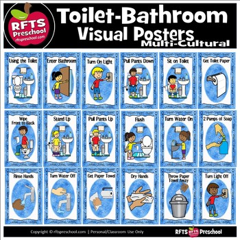 TOILET BATHROOM VISUAL POSTERS  (Multi-cultural)