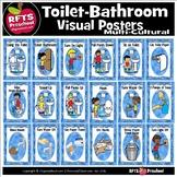 TOILET BATHROOM VISUAL POSTERS  (Multi-cultural)