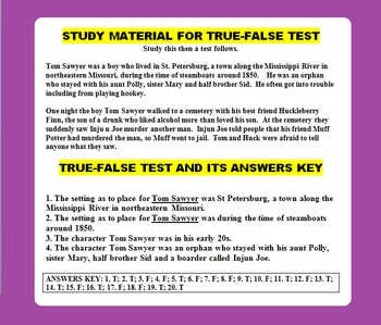 TOM SAWYER RETOLD!  (PACKET, TESTS, FUN, EASY, COMMON CORE)