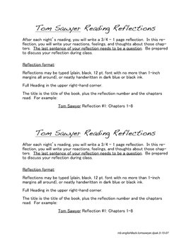 TOM SAWYER Reading Reflection Assignment