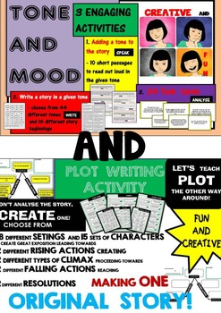 TONE AND MOOD - 3 ENGAGING ACTIVITIES + PLOT - CREATIVE WRITING ACTIVITY