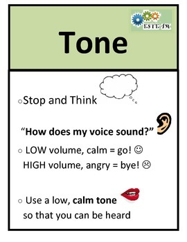 Social Skill Steps Poster - TONE OF VOICE  - ESTEAM curric