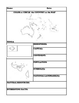 TONGA COUNTRY RESEARCH WORKSHEET