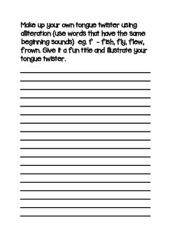 TONGUE TWISTER POEM ORIGINAL & ALLITERATION AND FOLLOW ON ACTIVITIES