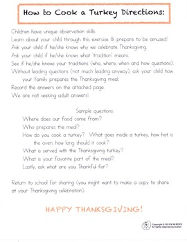 Too Cute to Cook Turkey Class Book and Writing Prompts