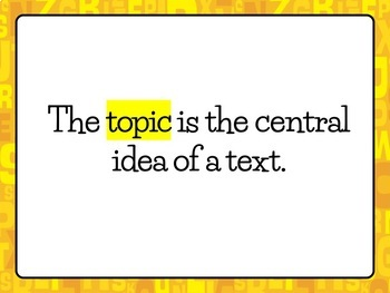 TOPIC, MAIN IDEA, & DETAILS Lesson Slideshow