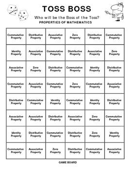TOSS BOSS: A PROPERTIES OF MATHEMATICS GAME