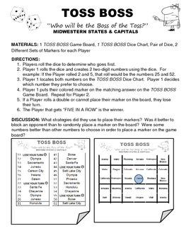 TOSS BOSS- Midwestern States & Capitals Game