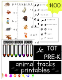Animal Tracks Printable | Words and Images for Tot School or Pre-K Word Walls