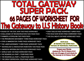 TOTAL GATEWAY TO U.S HISTORY WORKSHEET SUPER PACK. 66 pages