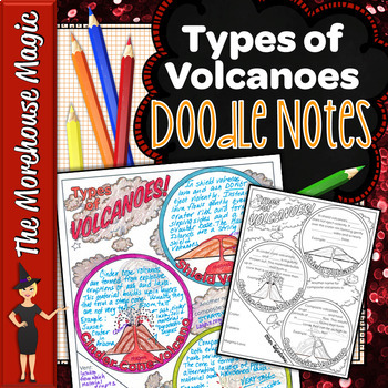 TYPES OF VOLCANOES SCIENCE DOODLE NOTES, INB, ANCHOR CHART, AND QUIZ!