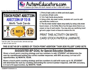 """TOUCH POINT Addition To 18 TASK CARDS APPLE Theme """"Task Box Filler"""" for Autism"""