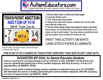 """TOUCH POINT Addition To 18 TASK CARDS BEACH BALL Theme """"TASK BOX FILLER"""""""