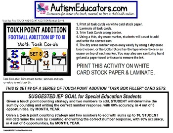 """TOUCH POINT Task Cards Football Addition To 18  """"Task Box Filler"""" for Special Ed"""