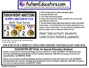 "TOUCH POINT Addition To 18 TASK CARDS OLYMPICS Theme ""Task Box Filler"""
