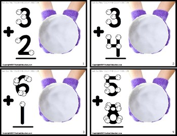 "TOUCH POINT Addition TASK CARDS WINTER Theme ""TASK BOX FILLER"" for Autism"
