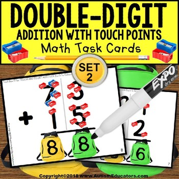 TOUCH POINT Double Digit Addition SCHOOL Theme TASK CARDS Task Box Filler