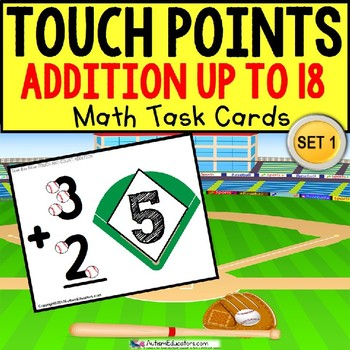 "TOUCH POINT Football Addition Sums To 18 TASK CARDS ""Task Box Filler"" for Autism"