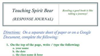 TOUCHING SPIRIT BEAR WORKSHEETS BUNDLE