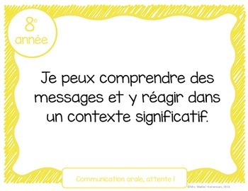 Buts d'apprentissage 8e année (Ontario) - Learning Goals in French