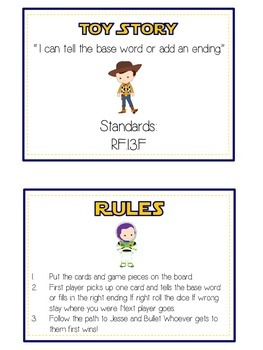 TOY STORY Inflectional Word Endings - ELA First Grade Game - Word Work Center