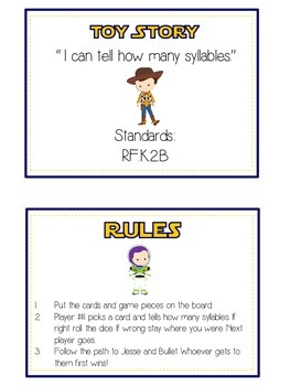 TOY STORY Syllables - ELA First Grade Folder Game - Word Work Center