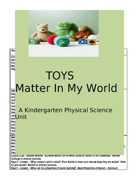 TOYS - Matter in My World  **aligned to Common Core