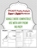 TPCASTT Poetry Analysis Paper & Digital Workbook
