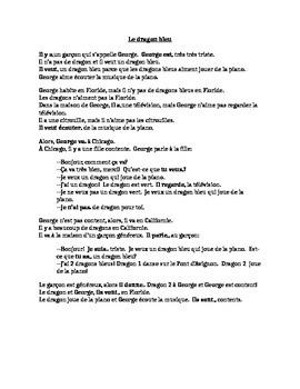 TPRS French 1 reading (287 words): Le dragon bleu & quiz