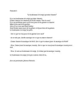 TPRS French 1 reading (160 words): Le bonhomme de neige qui aime chanter