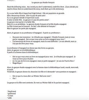 TPRS French 1 reading (284 words): Le garçon qui étudie fr