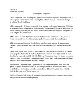 TPRS French 1 reading: Mon éléphant (315 words)