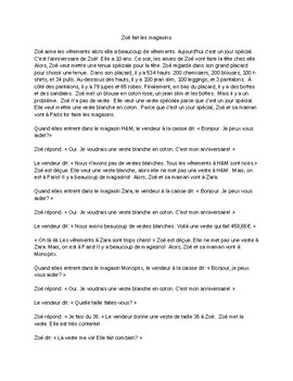 TPRS French 2 reading: Zoé fait les magasins (482 words) and questions