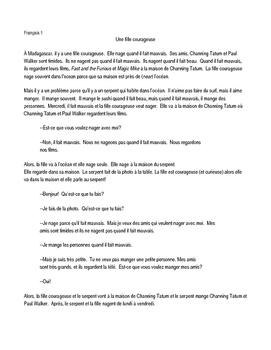 TPRS French 1 Reading: Une Fille Courageuse (345 words)