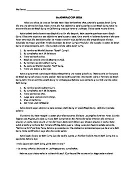 TPRS READING-  Level 2 (past tense) // La admiradora loca