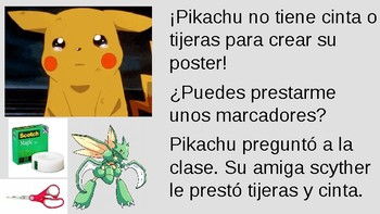 TPRS Spanish Classroom/School Vocab - Pikachu