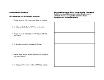 TPRS Style Spanish Storyboard and Reading Activities