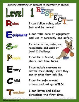 TPSR Level 1 Respect Poster
