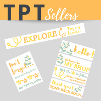 TPT Animated Banner Set FRESH FLORAL NATURE Theme {Quote Box, Banner & Side Bar}