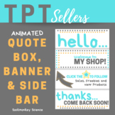 TPT Animated Banner Set TURQUOISE POP Dot Theme {Quote Box, Banner & Side Bar}