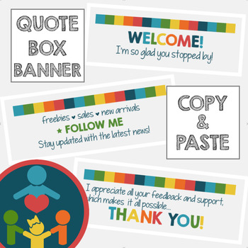 EASY TpT Quote Box Banner | Animated GIF  : Tropical Colors