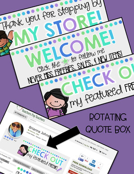 TPT Animated Quote Box Gif & Banners {COOL COLORS}