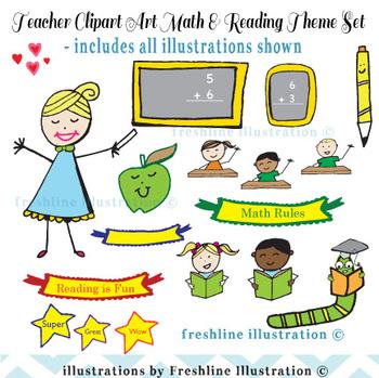 TPT Clipart Set - Teacher Clipart Set Assortment for Reading and Math