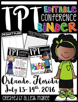 TPT Conference 2016 Binder {Editable}