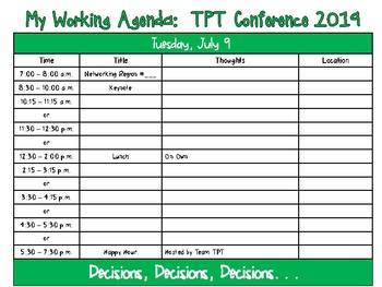 TPT Conference 2019:  Working Agenda
