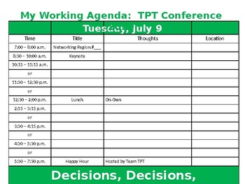 TPT Conference 2019:  Working Agenda Editable Version
