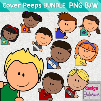 TPT Cover Peeps: Corner Clip Art Kids BUNDLE!