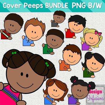 TPT Cover Peeps: Corner Clip Art Kids BUNDLE!